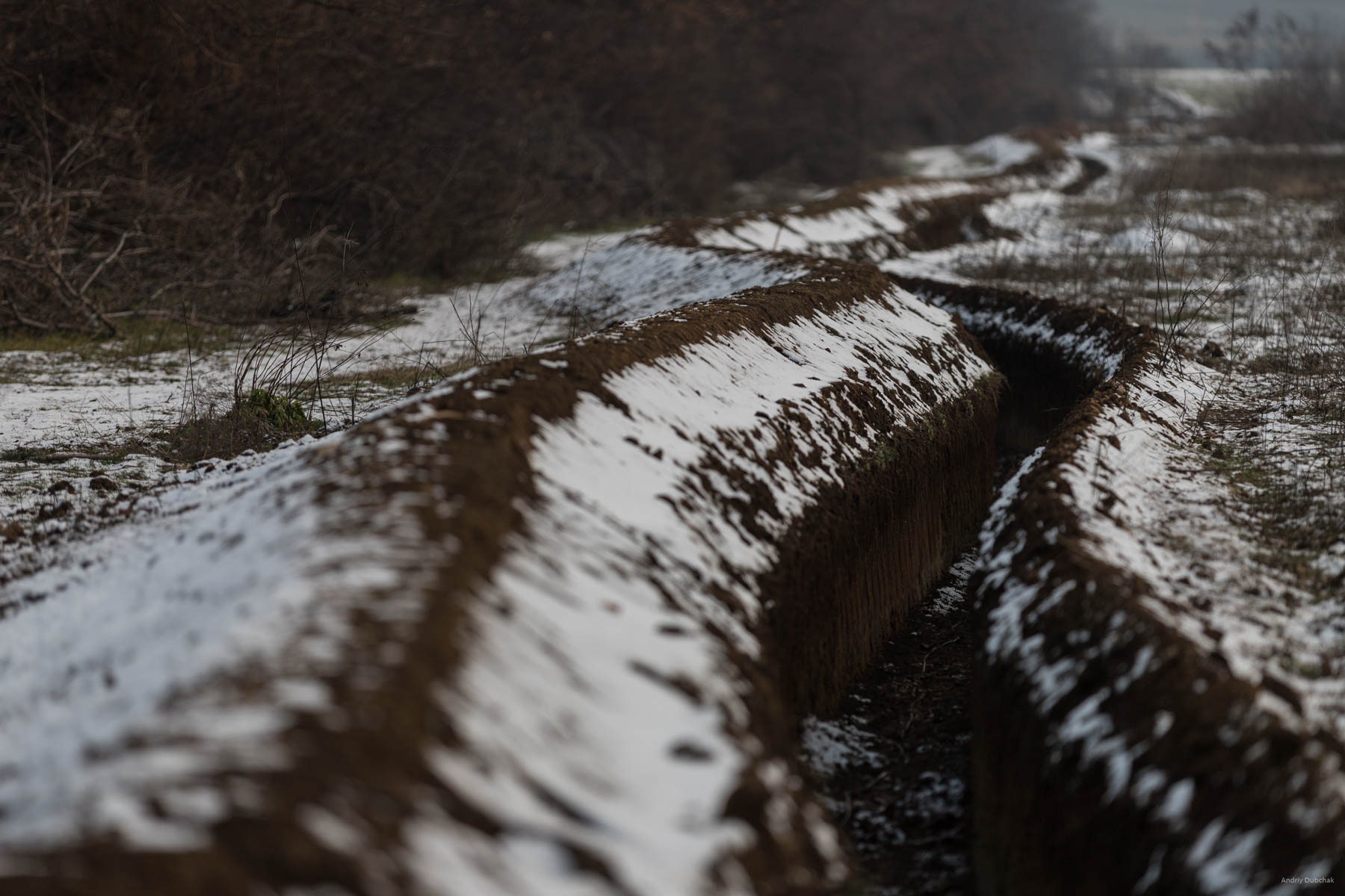 Trench lines of Ukrainian military positions, near Popasna. Where possible, such trench lines connect forward PS (platoon strongpoints)  District of Popasnoy, December 2017.