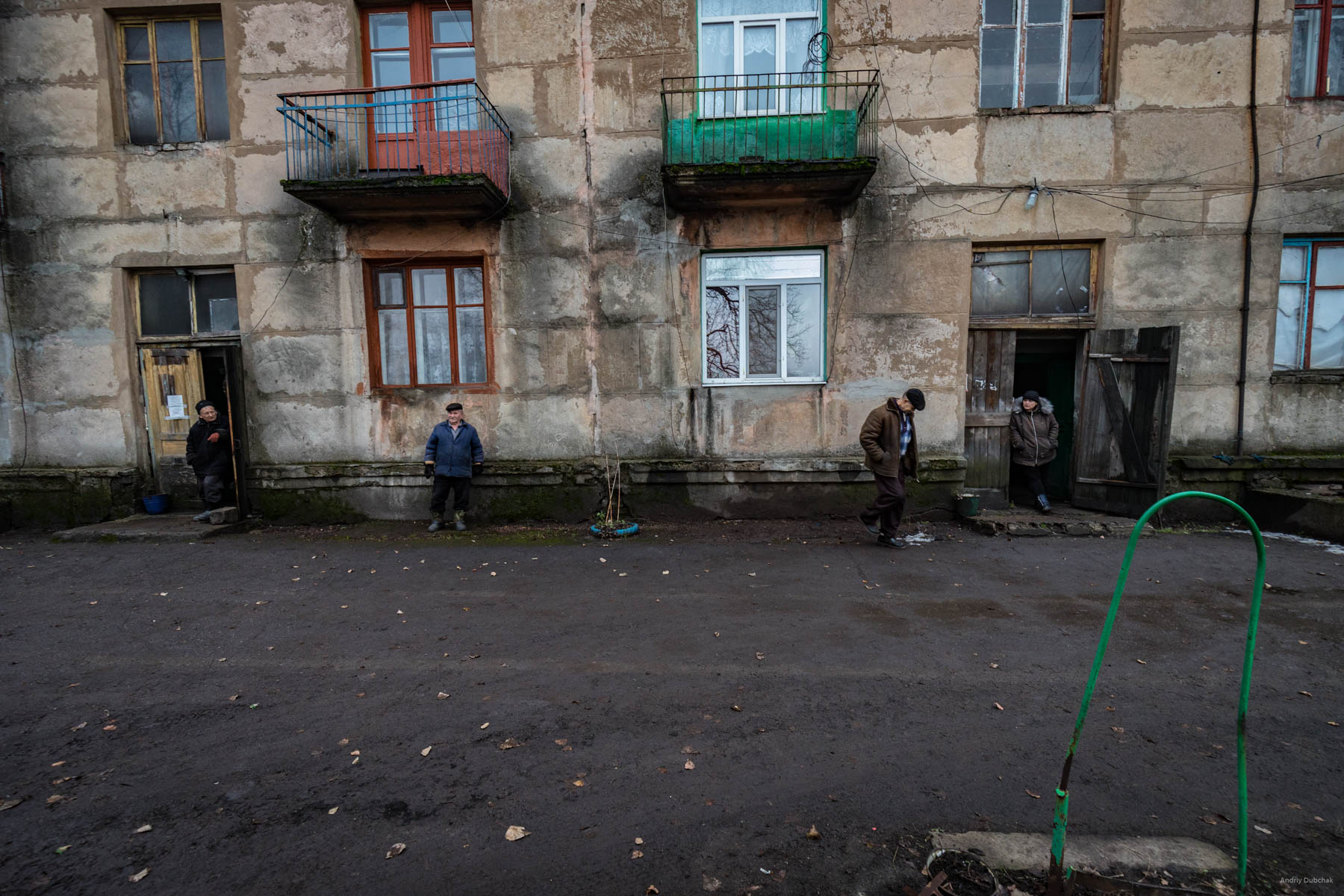 """Residents of the house located in the """"gray zone,"""" near the city of Zolote, Luhansk region. On that day, we took pictures of how the military evacuated a body of an unknown man about the age of 40 years old, who recently struck a mine-stretch near this building and died as a result of the explosion. District of Popasnoy, December 2017     A video about these people and about the evacuation of the deceased: https://goo.gl/vvKCuL"""