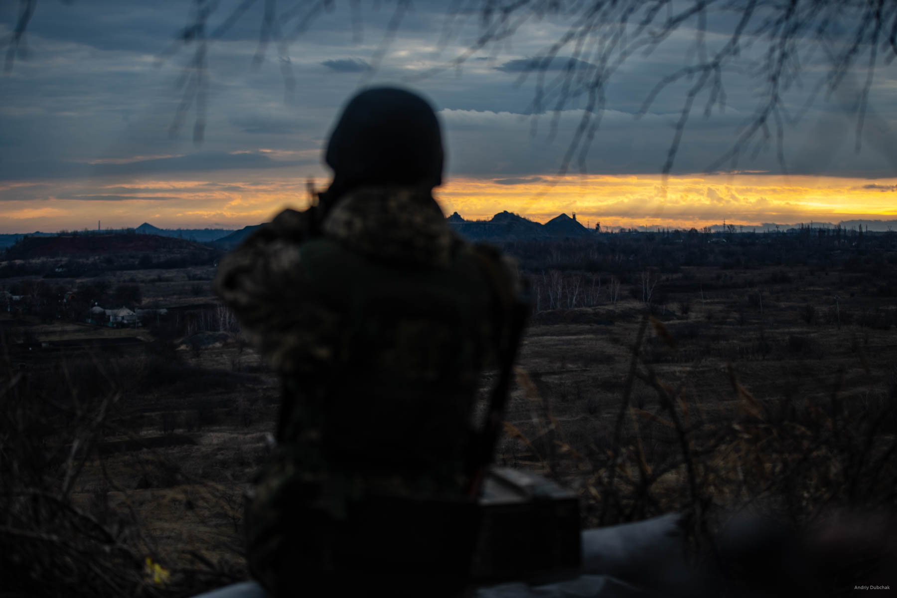 """The view on the gob piles, held by the Russian hybrid forces, from the position of the Ukrainian military, near the city of Zolote, which is in Lugansk region. One of the gob piles is located at a distance of 1.5 km, the other is 3 km away. The territory between the gob piles is a """"gray zone"""". Militants' sniper and reconnaissance groups come there. District of Popasnoy, December 2017"""