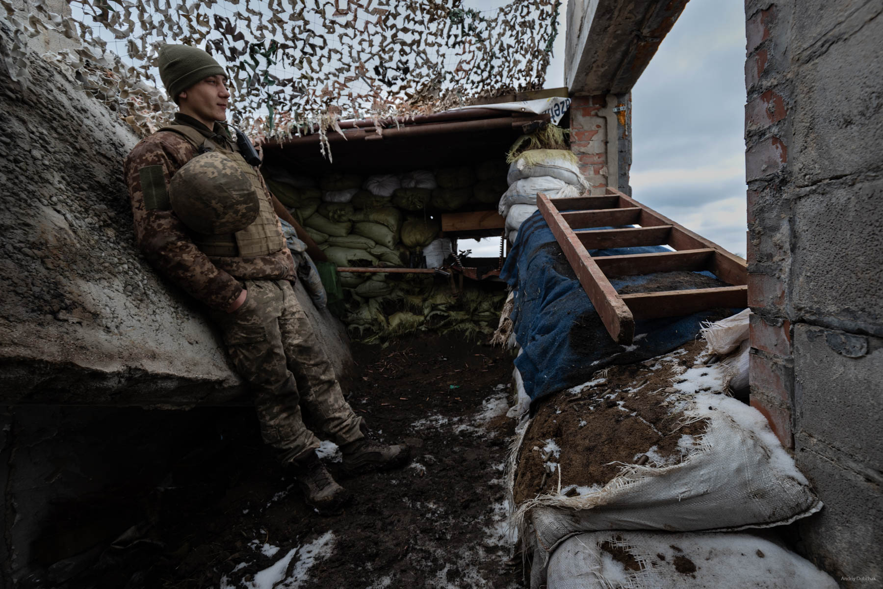 """At one of the front positions, I speak with """"Archie"""", a 20-year-old boy from the region of Nikolayev. He tells us that the militants often try to approach our positions through wood lines at night; our warriors have to respond with fire at regular intervals. Shirokine, March 2018. Video: https://goo.gl/iVAXZB"""