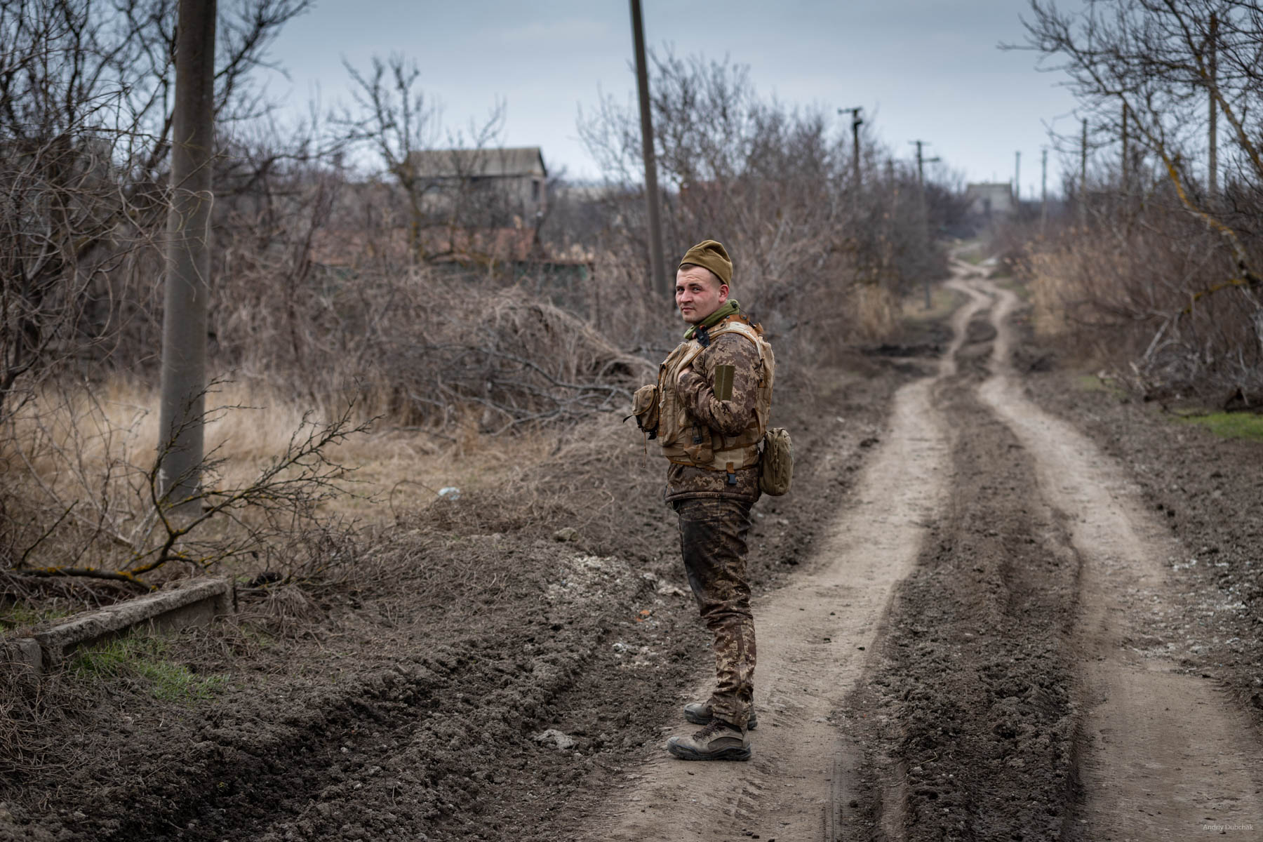 """Eduard. Eduard Yuriyevich Fedorov is a sailor of the Marine Corps of Ukraine. This photo I made in March, when he accompanied me from the front position to downtown Vodyane. """"Give me a couple of photos. As mementos"""". On the 27th of June, a hostile bullet hit him. For five days, doctors fought for his life, but ... failed. On the 2nd of July, his heart stopped. The soldier has a pregnant wife, with whom he married in late April. On September 17th, a daughter was born to him, who will know her father only in the photos ... I knew him a couple of hours. I will remember him my whole life. May he rest in peace. Photo - Vodyane, March 2018."""
