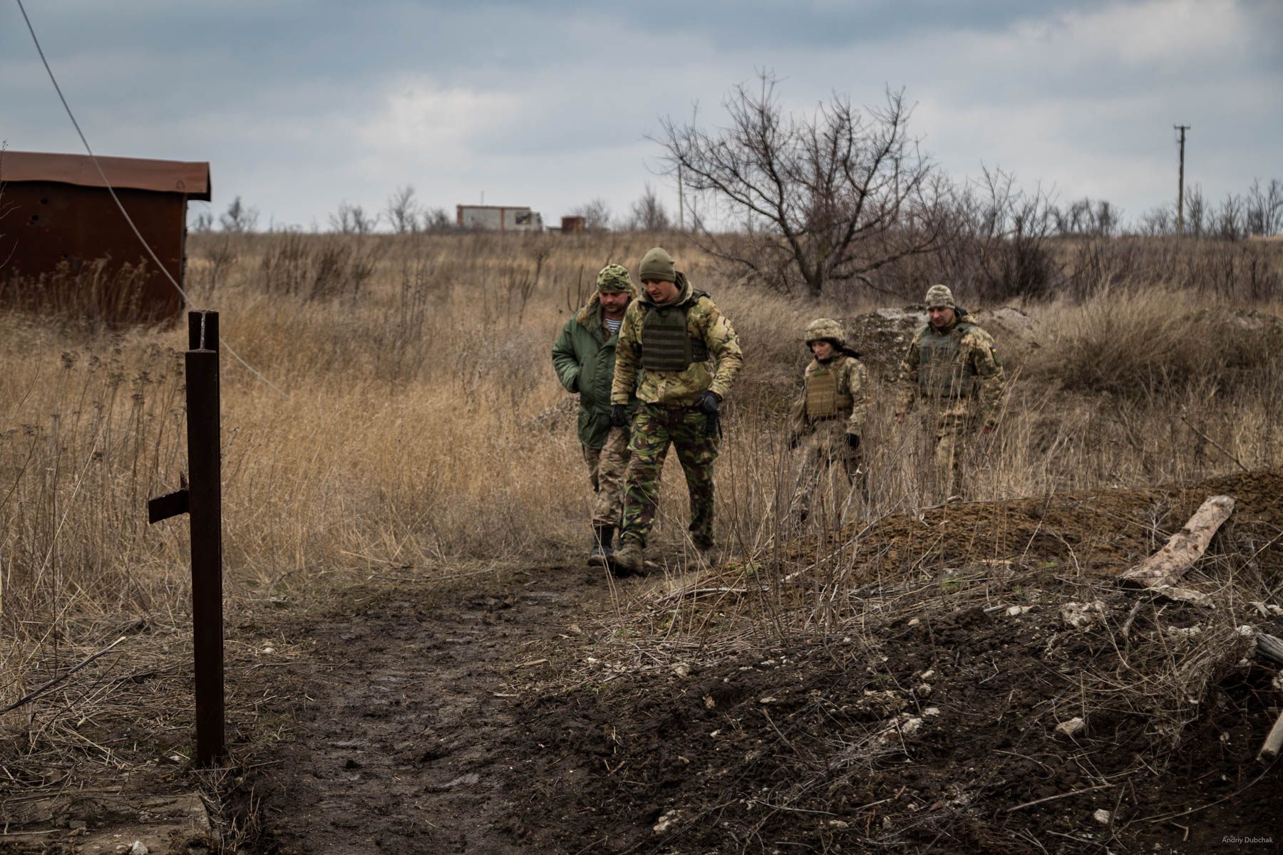 """""""The brass has arrived"""". Squadron commander, Victor Sikoza, company commander, Alexander, press officer ,Alexander Bessmertnya, and brigade commander, Dmitry Deliatitsky, are going to examine how they strengthened the recently occupied """"nuli"""" position on the forefront in Shirokine. Read: Brigade commander of Marines, Dmytro Deliatiatsky: """"We will definitely return to our home, Crimea"""" - https://goo.gl/TsSs4j Shirokine, March 2018"""