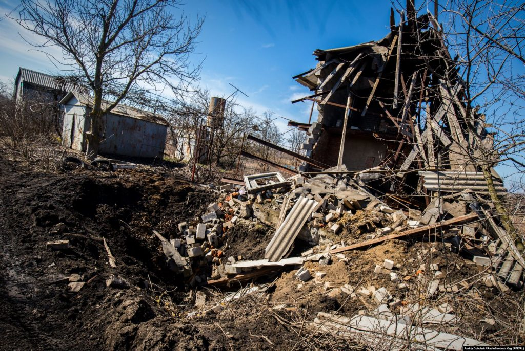 The wreckage of a house in the village of Vodyane, wiped out by separatists probably firing a 152mm howitzer in March 2018. Correspondent Andriy Dubchak