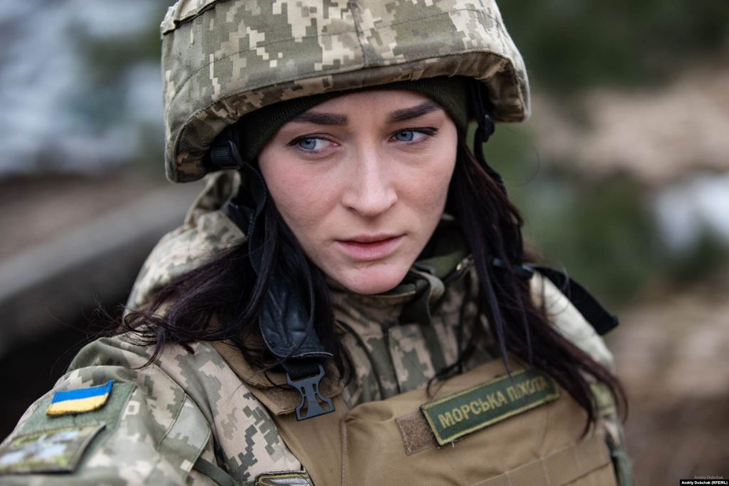 Oleksandra Bessmertnaya, a press officer for Ukraine's Marine Corps in Shyrokyne, March 2018. War photographer Andriy Dubchak