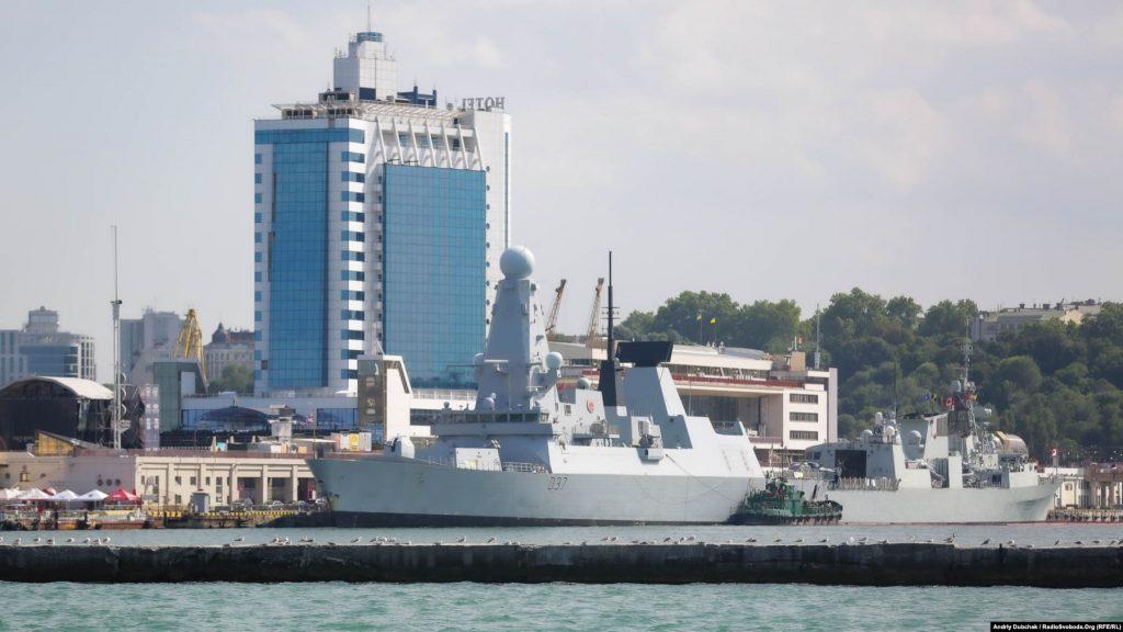Есмінець Великої Британії Duncan та канадський фрегат Toronto пришвартовані у порту Одеса, фото Andriy Dubchak